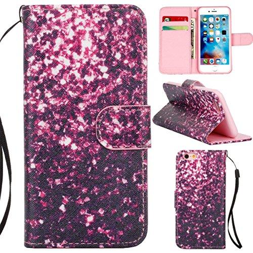 Gift_Source iPhone 6 hülle, iPhone 6S hülle, Brieftasche Ledertasche Bookstyle Schutzhülle Leder Flip case Etui for Apple iPhone 6S/6 4.7 inch [ Blaue und gelbe Sand ] E01-01-Purple flowers