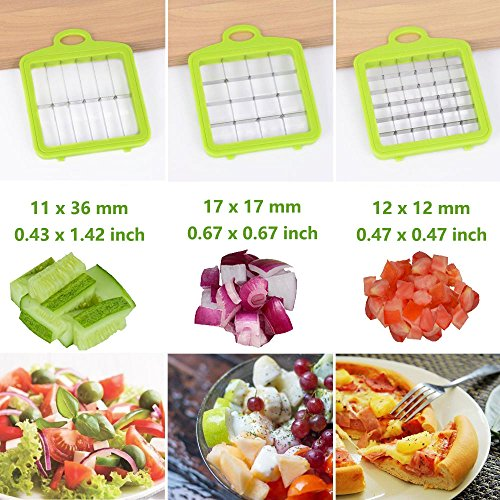 Vegetable Chopper Veggie Fruit Dicer – Syolee Food Cutter with 3 Interchangeable Blades, Food Container, Cleaning Brush Perfect for Potato Tomato Onion Carrot Salad Cucumber