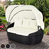 Miadomodo Polyrattan Sun Lounger with Foldable Roof (172/140/100 cm) Day Bed Garden Sofa Patio Terrace Furniture Choice of Colours (Black)