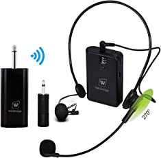 WinBridge Wireless Lavalier Microphone for DSLR Camera Recording UHF Rechargeable Transmitter & Receiver with Headset Microphone Perfect for, Live Performance, Public Speaking, Teaching, Bus Car WB029
