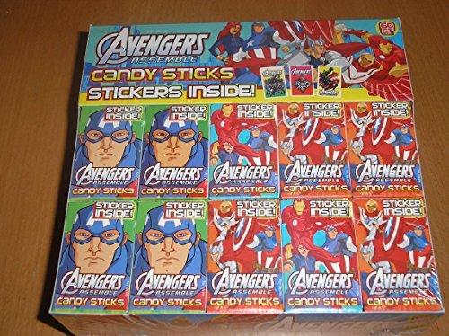 Price comparison product image Avengers Assemble Marvel - Candy Sticks & Sticker Wholesale Box (60 x Packs)