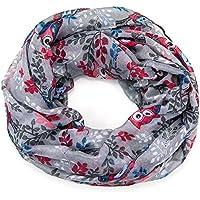 ManuMar Loop-Schal für Damen | feines Hals-Tuch mit Eulen-Motiv | Schlauch-Schal - Das ideale Geschenk für Frauen