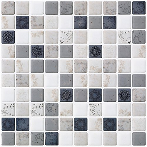 "Ecoart Wall Tile Stickers Peel and Stick Self-Adhesive Wall Tile with Mosaic Effect for Kitcheh Bathroom Backsplash Mosaic with Motif 10"" X 10"" Pack of 6 Earth Color (3D,Heat Resistant,Waterproof)"