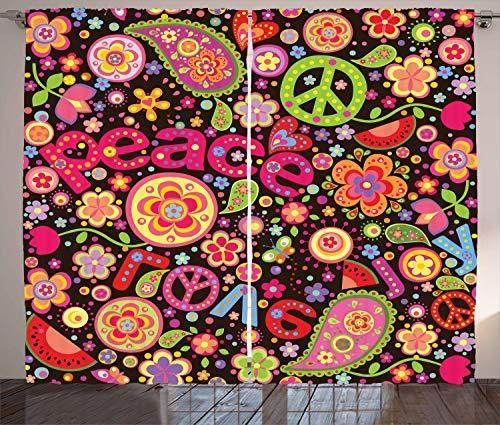 ABAKUHAUS toll Rustikaler Gardine, Hippie Paisley Blätter, Schlafzimmer Kräuselband Vorhang mit Schlaufen und Haken, 280 x 175 cm, Mehrfarbig -