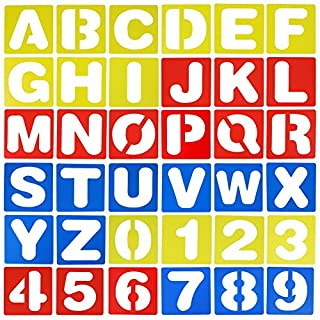 FANTESI 36 Pieces 4 inches Lettering Stencil Set, Alphabet and Number Stencils Writing Stencils kit Lettering Guide for Learning, Painting, Scrapbooking and DIY Crafts
