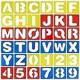 FANTESI 36 PCS Lettering Stencil Alfabeto Lettera di Stencil Numero Righello di Mestiere Plastica Decorativi Guide di Stencil Set, Colori Assortiti (Style 1)