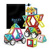 NextX Blocchi Magnetici Giocattolo - Set Di 46 Pezzi per Costruzioni 3D - Puzzle Educativo per Piccoli Ingegneri - Regalo Perfetto per Bambini 3+ Anni
