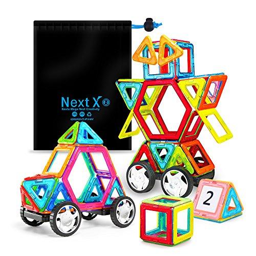 NextX Magnetische Bausteine Magnetspiel Set Pädagogische Bauklötze Spielzeug Geschenk für Kinder (46-Stück) (Magnetische Holz Bausteine)