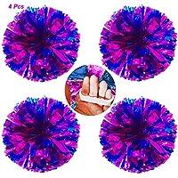 AUHOTA 4Pzs Pompones de Animadora con Dedo-simpático Anillo, Cheerleading Pompón Mano Flores de Metálico para Deportes Aclamaciones Pelota Baile Fancy Vestir Noche Fiesta-80g (Rosa-Rojo/Azul)