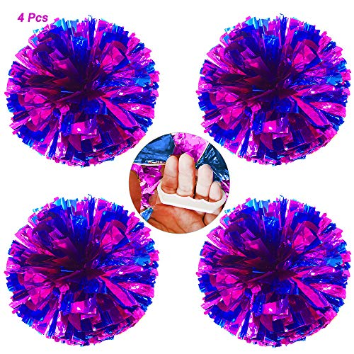 AUHOTA 4 Stücke Cheerleading Pom Poms mit Finger-freundlich Ring, Hell Metallic Cheerleader Pompons, Prämie Cheering Handblumen zum Sport Cheers Ball Dance Kostüm Party Spirit-80g/Pro - Cheerleading Kostüm Zu Machen