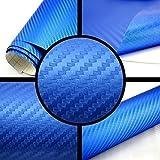 3D Carbon Folie blau BLASENFREI 1m x 1,52m mit Luftkanäle