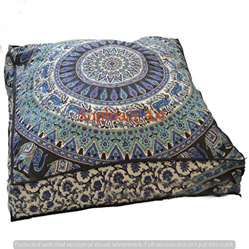 indischen Psychedelic Elefanten Mandala Boden Kissen quadratisch osmanischen Pouf Sofa Übergroße Kissenbezug Outdoor Sofa Überwurf groß Boden Kissen 8.978,9cm (Multi 2) (Osmanischen Modernen Outdoor-der)