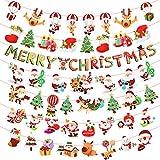 Matogle 7pcs Guirnalda Navidad Banner Bunting Merry Christmas Dibujo Animado Papá Noel Árbol de Navidad Reno Bandera Decorativo Colgar en Techo Pared Adorno Navideño Colgante 2.7m