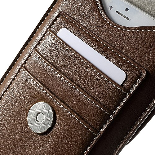 """DFV mobile - Belt Case Cover Premium Synthetic Leather Vertical and Card Slots for =>      APPLE iPhone 6s Plus [5,5""""] > Black Brown"""