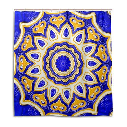 BIGJOKE Cortina de Ducha, diseño Tribal Indio, Mandala Floral, Resistente al Moho, Impermeable, Tela de poliéster, 12 Ganchos, 167,6 x 182,9 cm, decoración del hogar