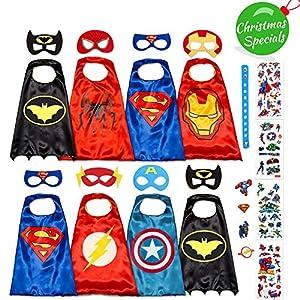Dropplex045 Costumes De Super Héros pour Enfants - Cadeaux d'anniversaire - 8 Deguisement Capes Et Masques – Jouets pour Filles Et Garçons Logo Qui Brille dans Le Noir