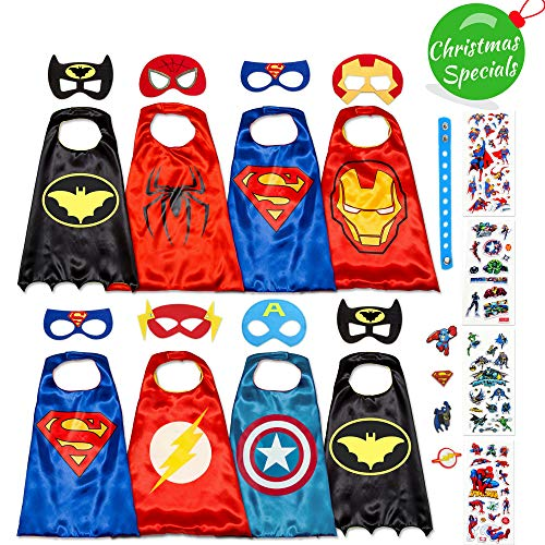 Dropplex Superhelden Kostüm Für Kinder – Kleinkind Superhelden Party Outfit - Spielzeug Für Jungen Und Mädchen - 8 Capes Und Maske – Im Dunkeln Leuchtendes Logo
