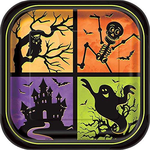 23cm, quadratisch, Haunted House Halloween Party Teller, 8Stück