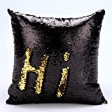 #7: LilyPin Stylish Sequin Mermaid Throw Pillow Cover with Magical Color Changing Reversible Paulette Design Decor Cushion Pillowcase Set of 1 (12X12) - Golden & Black