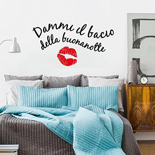 wall art 01433 Adesivo murale Aforisma - Dammi Il Bacio della buonanotte - Misure 60x33 cm - Nero e Rosso - Decorazione Parete, Adesivi per Muro, Carta da Parati