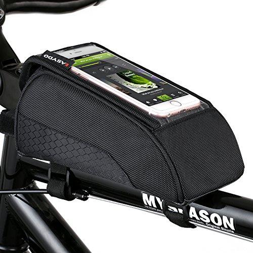 Fahrradtasche Oberrohr, Schnelle Installation & Release Tragbare Fahrradtasche, Touch Screen Handy Tasche für Fahrrad mit Wasserdichtem Material 1600D Nylon (Rahmentasche Leder)