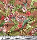Soimoi Brown Modal Satin-Gewebe-Flamingo, Blätter & Tropical Stoff durch den Zoll 42 Yard Breite