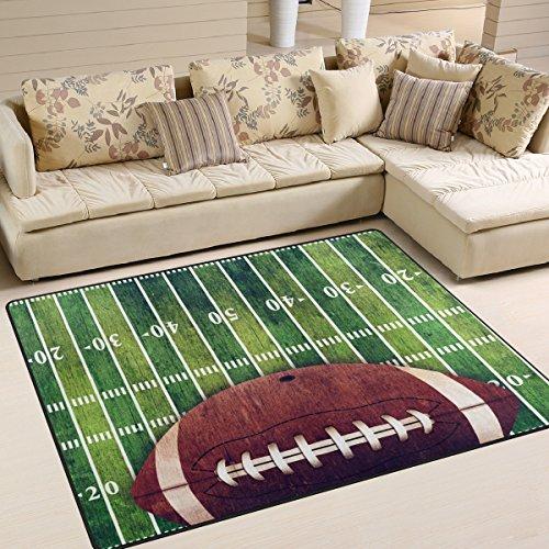 Naanle American Football Field Rutschfester Teppich für Wohnzimmer, Esszimmer, Schlafzimmer, Küche, 50 x 80 cm, Polyester, Multi, 120 x 160 cm(4' x 5') -