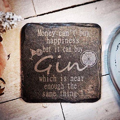 Platters Slate Untersetzer aus Schiefer mit Gin-Motiv, quadratisch, handgefertigt in Großbritannien, Geschenk für Gin-Liebhaber