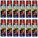 12er Sparpack (1 Karton) Lackspray glänzend 400ml Feuerrot glanz RAL 3000