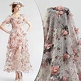 PC013D Floral Pink Chiffon Braut/Hochzeit Kleid bestickt Blume Stoff scallop Trim Aufnäher, silber, 1 Yard
