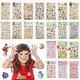 YOTINO 20 Pezzi Adesivi 3D per Bambini, Tatuaggi Bambini Animali, Fiori e Lettere, Fogli Adesivi Autoadesivo per Decorazione Viso o Piccoli Oggetti a Casa