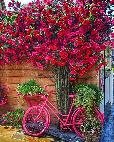 CCEEBDTO 1000 Piece Jigsaw Puzzle pour Adultes Vélo Rouge Et Fleurs pour DIY Home Décor De Vacances Collectionneurs Enfants Cadeaux 75X50Cm