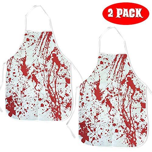 THE TWIDDLERS Halloween Blutspritzer Blutige Schürzen - 2er Pack - Perfekt für Halloween saisonale Dekoration Party - Blutbad Kochschürze Für Verkleiden & Metzger Kostüm