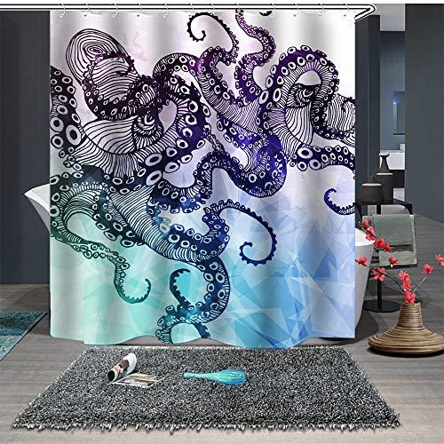 Chickwin Duschvorhang Anti-Schimmel & Wasserdicht, 3D Meerestier Krake Drucken Waschbar Polyester Duschvorhang mit 12 Duschvorhangringe für Badezimmer (180x200cm,Lila Kristall)