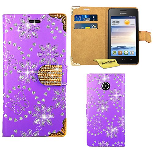 huawei-ascend-y330-case-foneexpertr-bling-luxury-diamond-leather-wallet-book-kickstand-bag-case-cove