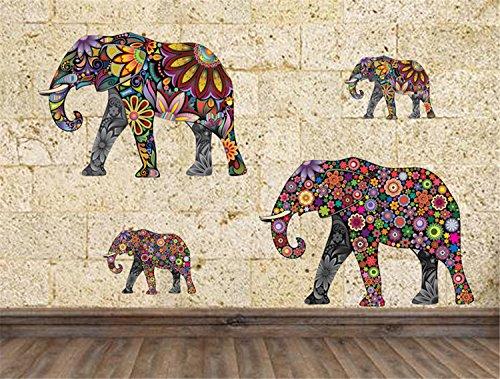 Preisvergleich Produktbild Yanqiao Modern Design Bunte Muster Elefanten Wandaufkleber für Wohnzimmer Kids'Room Abnehmbare Vinyl Home DIY Dekorieren