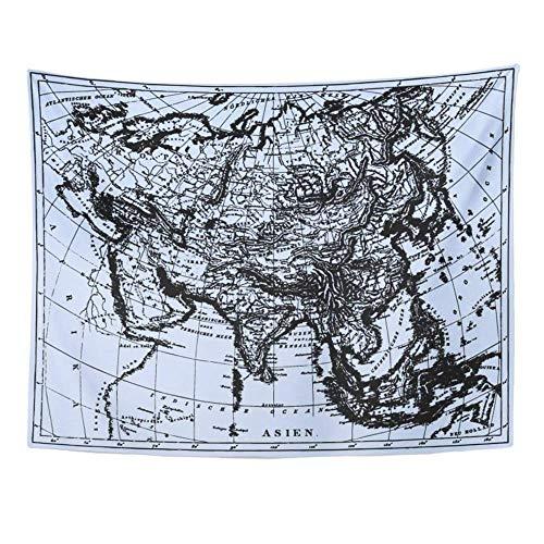 MinnSok Wandteppich, Motiv: Historische Landkarte von Asien aus dem Bilderatlas von F Brockhaus Atlas herausgegeben 152,4 x 203,2 cm Tapisserien Matratzendecke Vorhang Home Decor Print