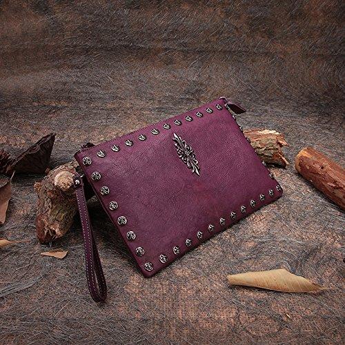Nouveau style de la première couche à la main rivet en cuir sac d'embrayage baodan sac à bandoulière en cuir enveloppe sac à main sac à main Purple