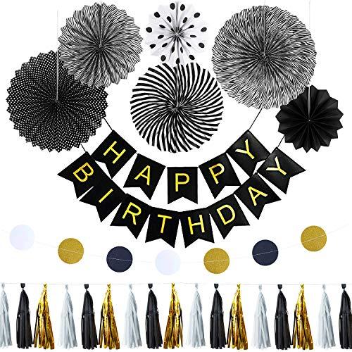 Oblique Unique® Happy Birthday Geburtstag Party Feier Deko Set - Happy Birthday Girlande Deckenhänger Fächer Rosetten Kreis Girlande Quasten Girlande Schwarz Gold Grau Weiß Mix (Und Schwarz Weiß-happy Birthday)