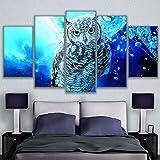 QFQH Farmework Leinwand Gemälde Home Dekorative 5 Stück Blau Eule Bilder HD Drucke Tiere Poster modulare Wand Kunst für Wohnzimmer, Mittel