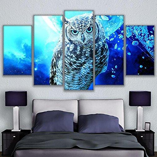 QFQH Farmework Leinwand Gemälde Home Dekorative 5 Stück Blau Eule Bilder HD Drucke Tiere Poster modulare Wand Kunst für Wohnzimmer, Mittel (Wo öl-druck Der Ist)