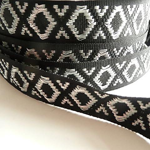 Lurex Jacquard Ribbon with Diamond Geometric pattern. 20mm wide -