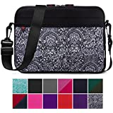 Kroo 10.6 Inch Laptop Sleeve Tablet Bag, Water Resistant Neoprene Notebook Computer Carrying Cover for Apple MacBook, Microsoft Surface, Chromebook (Black Paisley Print)