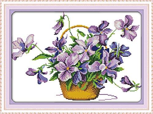 benway Kit point de croix compté Motif fleurs Violet 14 fils 43 x 33 cm