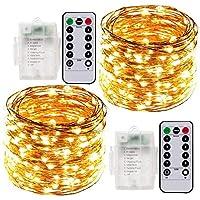 Cadena de Luces LED, ACDE 2 Pack Guirnaldas Luminosas con Pilas, 10M 100LED Luces Decorativas Impermeables, 8 Modos Control Remoto de Amarillo Cálido