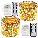 Lichterkette Weihnacht, 2 x 10M LED Lichterkette Batterie, Drahtlichterkette Batterie Timer 100 LEDs Weihnachtsdeko Außen & Innen Fernbedienung Wasserdicht (Warmes Gelb)