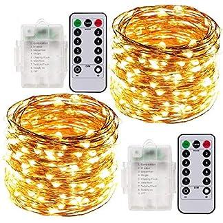 Cadena de Luces LED, 2 x 10 Meter Luces Navidad a Pilas Exterior e Interior, 100 LEDs Guirnaldas Luminosas Navidad Decorativas Impermeables Control Remoto(Amarillo Cálido)