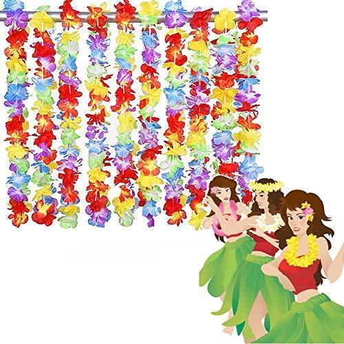 Ecisi 50 STÜCKE Tropical Hawaiian Luau Lei Stile Rüschen Blumen Halsketten, Hawaii Lei Imitation Blume Stirnband Halskette Für Party Supplies, Beach Party Dekorationen, Birthday Party Favors