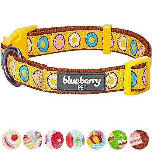 Blueberry Pet Halsbänder für Hunde 1,5 cm S Glasierte Donuts Charmantes Charisma Designer Hundehalsband