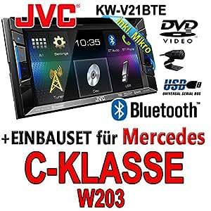Mercedes C-Klasse W203 - JVC KW-V21BTE - CD Bluetooth MP3 USB TFT DVD Autoradio - Einbauset